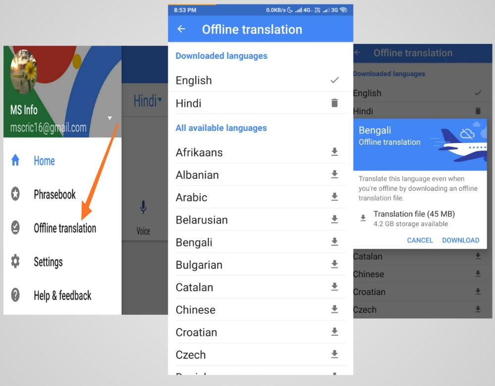 offline translation in google translate