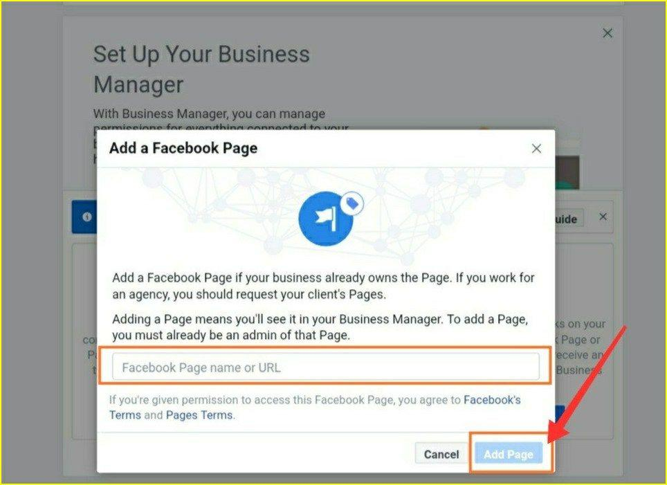adding page into facebook page manager