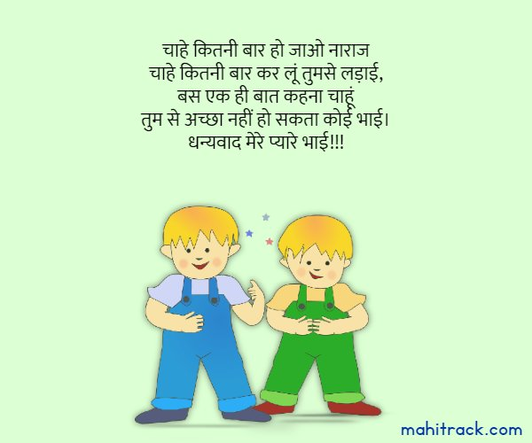 thank you message for brother in hindi
